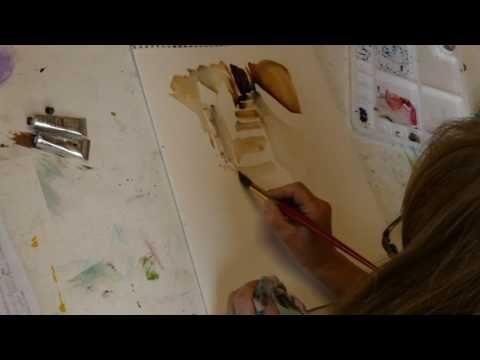 Monika Reiter, Aquarell Lavieren I, Treppe