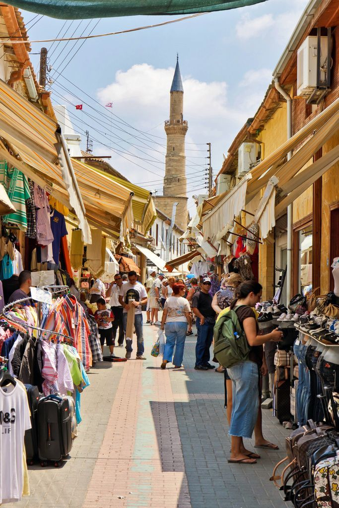 Shopping streets of Nicosia, the capital of Cyprus located in the center of the island