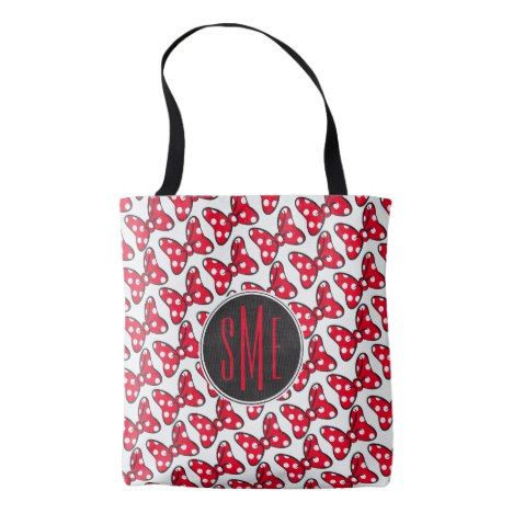 Trendy Minnie | Polka Dot Bow Monogram Tote Bag