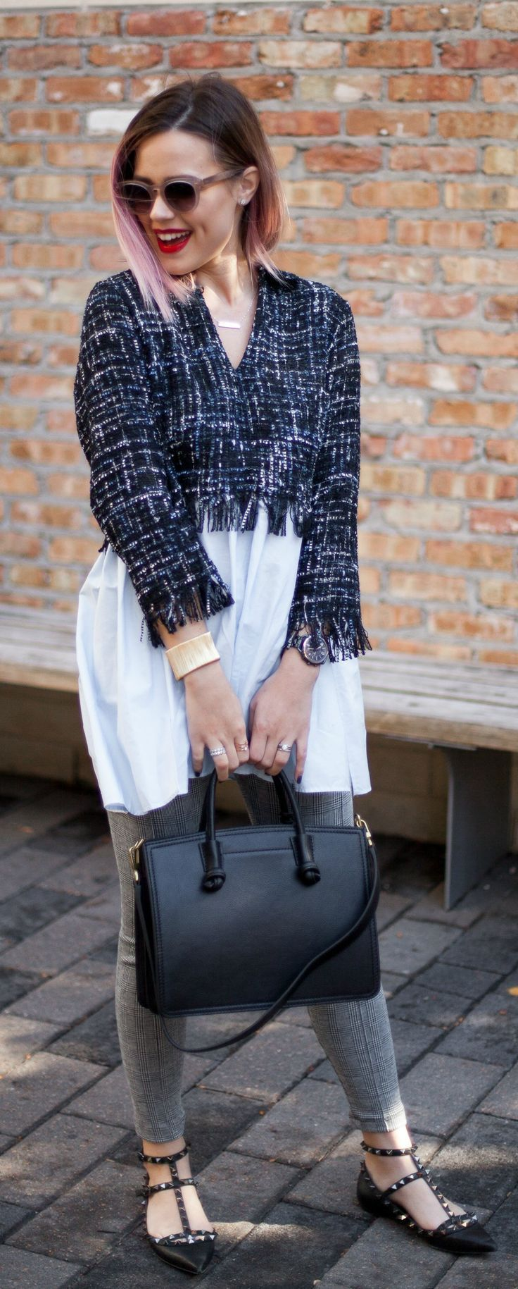 Casual Fall Style | Zara outfit | Tweed top | Fossil Bag | Uptown with Elly Brown