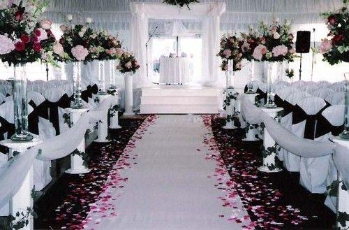 Pink Black White Wedding Ceremony Http://www