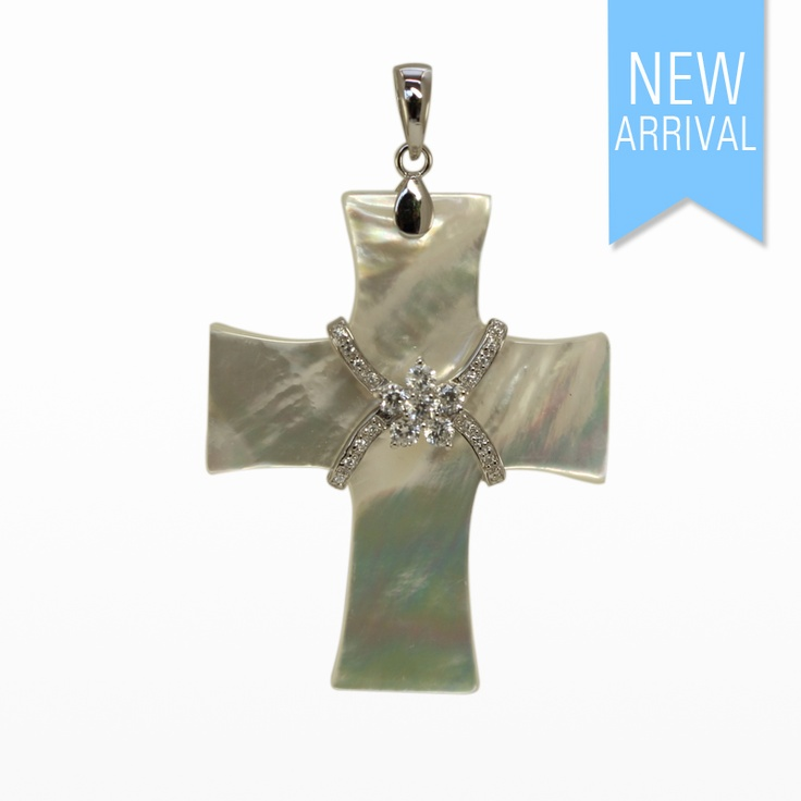 Pendant Cross White MOP and CZ set in Silver #Pendant #NewArrivals #GinaAdornments