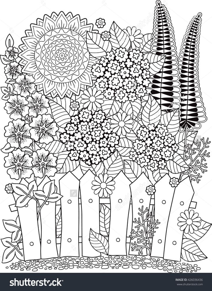 Doodle Sunflowers Coloring Page For Adults Summer Flowerbed 426036436 Shutterstock