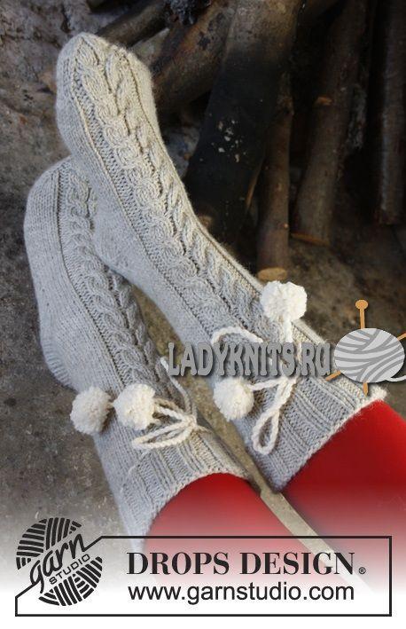 Вязаные спицами носки с косами «Домашний очаг» от Дропс