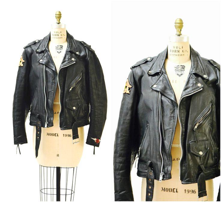 Vintage Black Leather Motorcycle Jacket Mens Small Medium Women Large// Vintage Black Leather Biker Jacket Harley Davidson Patches by Hookedonhoney on Etsy