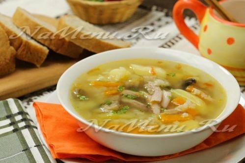 Суп с курицей, грибами и рисом