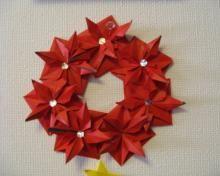yuyu家の英語の勉強記録-リース Origami Christmas wreath tutorial