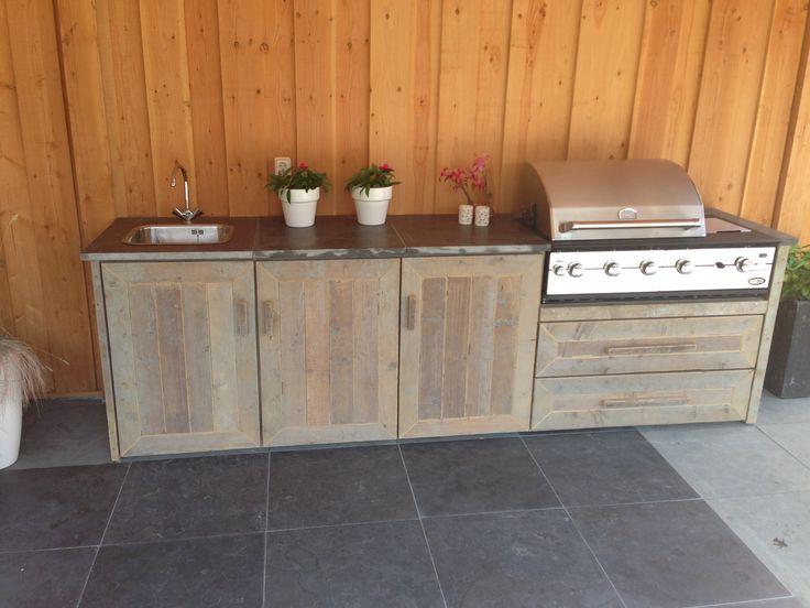 Buitenkeuken van steigerhout inspiratie huis dakterras pinterest buitenkeukens tuin en - Ideeen buitentuin ...
