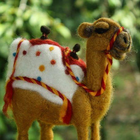 Needle Felted Camel/Waldorf Inspired Felt Animal/Nativity Set