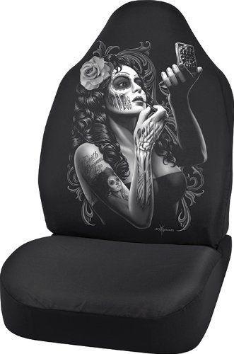 1x Lowrider DGA Universal Bucket Seat Cover Skin Deep Dia de Los Muertos Skull
