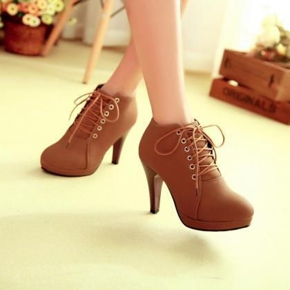 Brown Lace up High Heels Boots