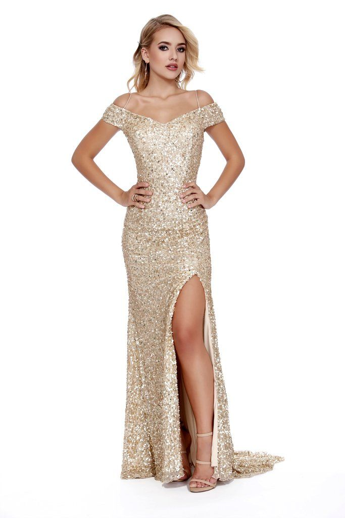 feb7e676a99 Off The shoulder Body Hugging Sequin Red Carpet Style Gold Prom Dress 12229