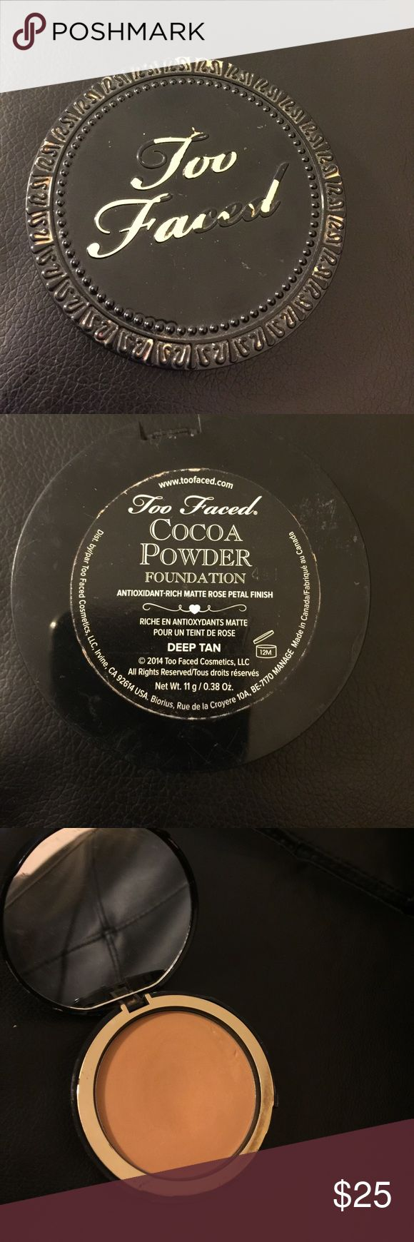 Too Faced cocoa powder foundation Deep tan. Like new Too Faced Makeup Foundation