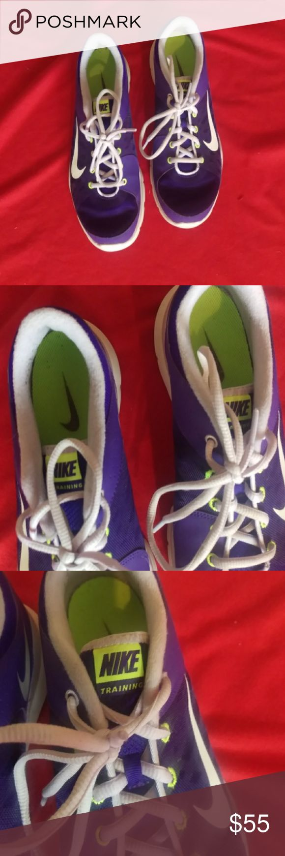 Nike training shoes Nike training shoes size 10 good condition normal wear purple /white with yellow trim Nike Shoes