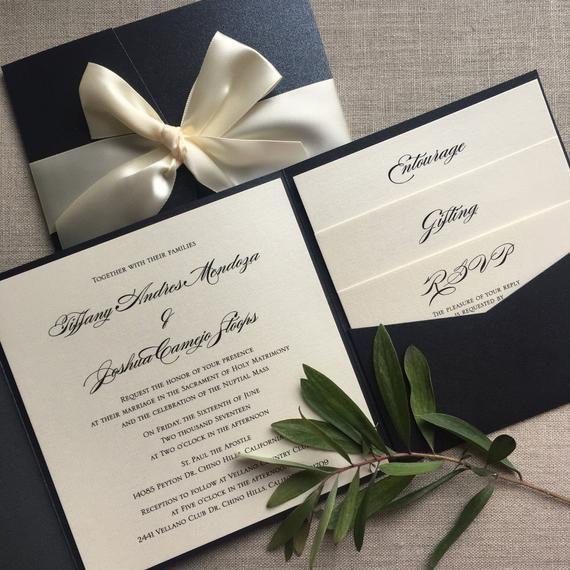 Elegant Black And Cream Pocketfold Wedding Invitation Printed Etsy Pocket Fold Wedding Invitations Pocket Wedding Invitations Printing Wedding Invitations