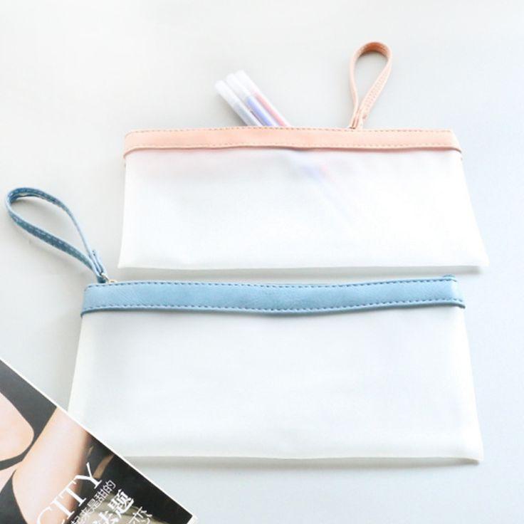 Novetly Simple Style Translucent TPU Pencil Case Stationery Storage Organizer Bag Boys&Girls Pencil Case For School Supplies