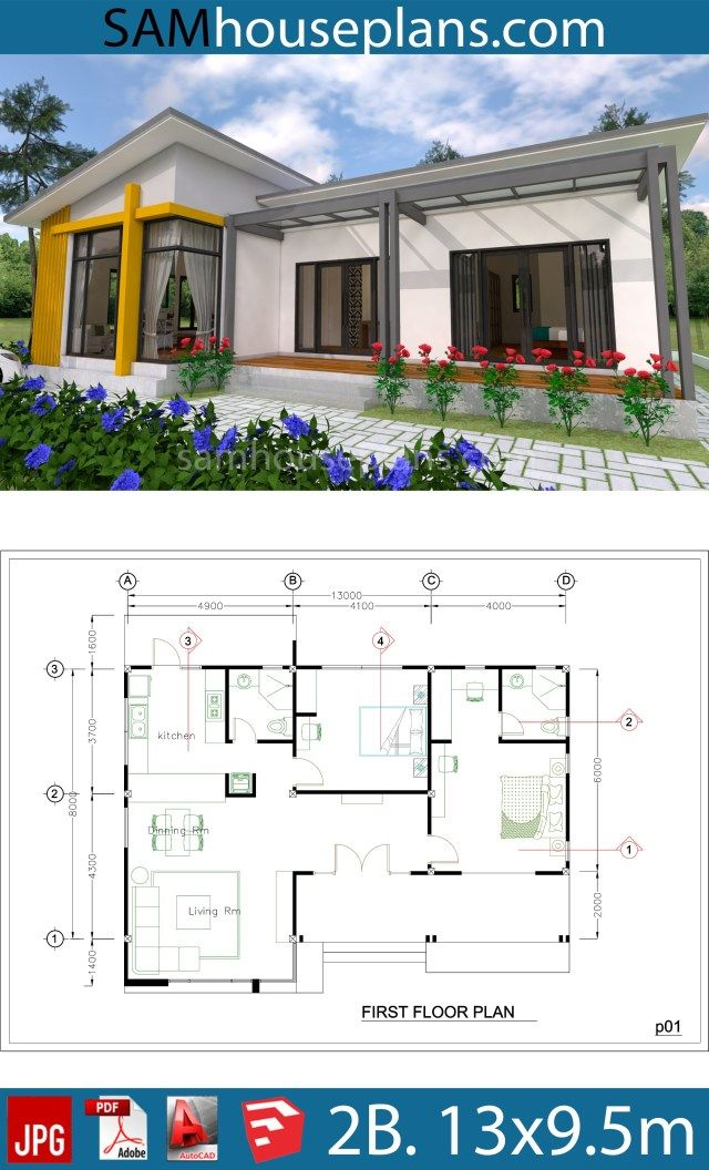 House Plans 13x9 5m Full Plan 2beds Sam House Plans Eco House Plans House Layout Plans Architectural Design House Plans