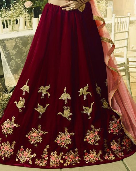 Bright And Appealing Is What You Will Look Like By Wearing This Semi-Stitched Sangeet Lehenga From The House Of Simaaya Fashions. Tailored With Rich Quality Velvet , It Keeps You Relaxed All Day Long.  Get this at - http://www.simaayafashions.com/sangeet-velvet-lehenga-in-maroon-vmlblo409  #weddingtrousseau #lehenga #weddingcollection #simaayafashions #onlineshopping
