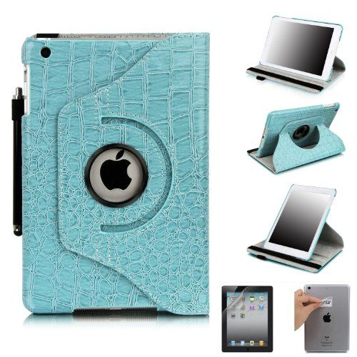 360 Degrees Rotating Stand Leather Smart Case for Apple iPad Mini/iPad Nano Luxury Crocodile Pattern