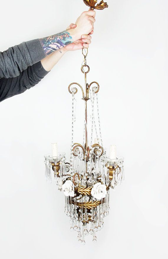 Vintage Italian Chandelier Crystal Chandelier by FlorenceMercato