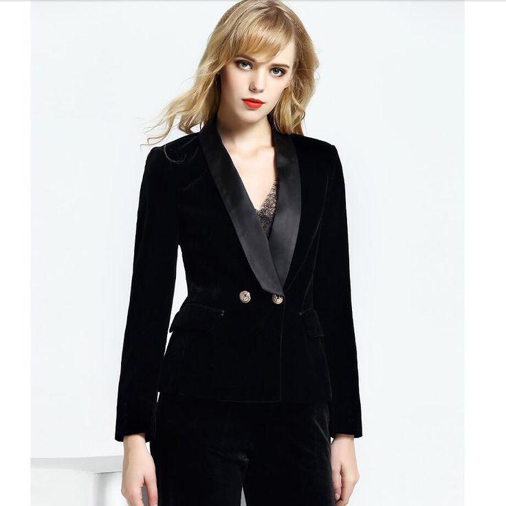 LXUNYI Autumn 2017 Black Velvet Coat jacket Women Long Sleeve Slim Double Breasted Blazer Women Gold Buttons Suit Ladies Blazers - www.eneryoh.com