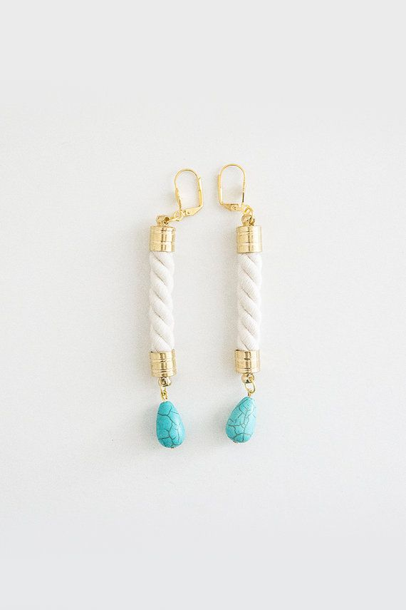Rope Earrings - Turquoise Drop Gem Ornamental Stone - Gold Brass - Mint Blue Ivory Cream Cotton on Etsy, 14,75 €