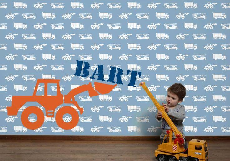 Stoer en kleurrijk! Behang auto's met graafmachine blauw. Met en zonder naam mogelijk. Designed by Tinkle&Cherry.