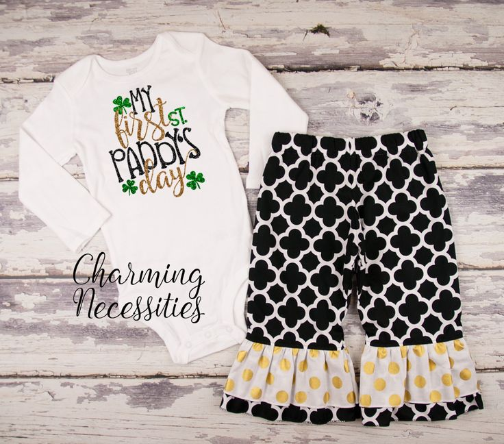 Baby Girl First St Patricks Day Outfit - Toddler Girl St Paddys Day Outfit - St. Patricks Day Clothes - My First St. Paddys Day black gold