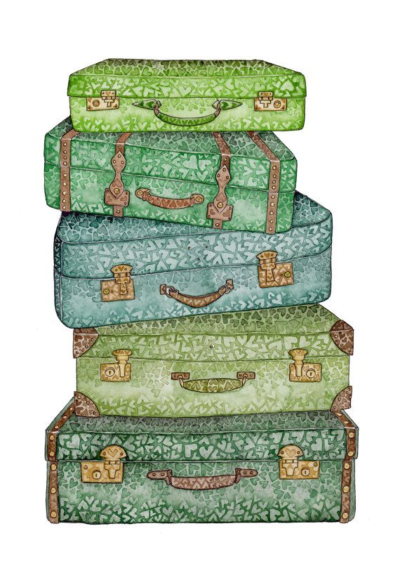 Travel Baggage Suitcase Green Voyage Holiday by BeccaLoveheArt, €25.00