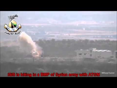 War in IRAQ & Syria 2014 / A direct hit in the Syrian Army BMP with ATGM
