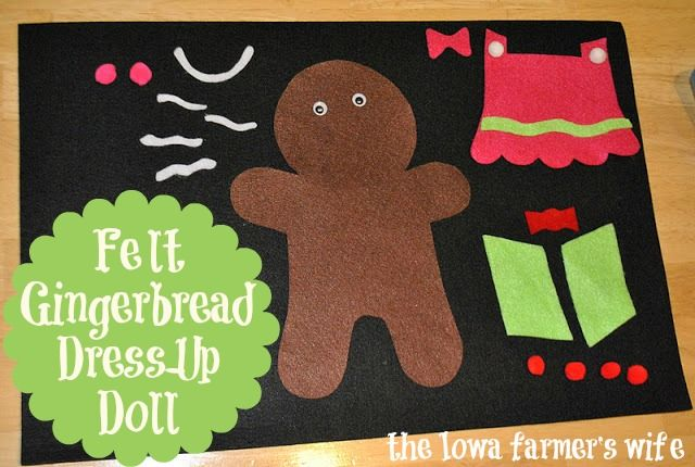 Felt gingerbread man/woman - dress him/her up in different clothes. Must keep this in mind for the kids at the Christmas party. #indigo #musicalholiday