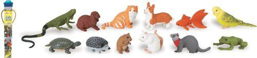 """Safari Ltd Pets Toob by Safari. $9.48. All our products are phthalate-free and thoroughly safety tested to safeguard your child's health. Featured is our pets toob. Replica size: 1.5"""" to 3"""" h (4 to 7.5 cm). Each figure is professionally sculpted and finely hand painted. Excellent """"carry-along"""" for any excursion since the figures are neatly packed in a reusable acetate tube. Toob includes: iguana, turtle, hedgehog, hampter, goldfish, frog, cat, ferret, corgi, p..."""