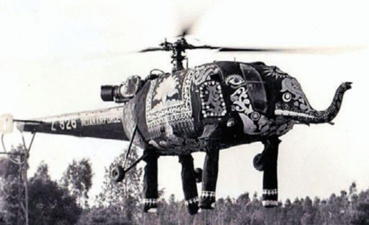 A Indian Air Force Chetak helicopter (license-built Alouette III) in a cunning disguise seen flying at a Republic Day parade sometime in the 1970s [1600 x 978]