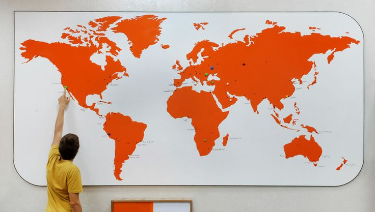 Meydan Architecture Design | Piworks Office, Interactive world map for a multinational company (whiteboard+magnets)