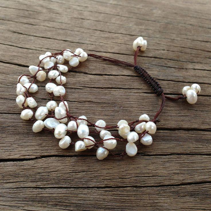 Snow White Baroque Pearl Bracelet 4Strand by PiscesAndFishes, $28.00