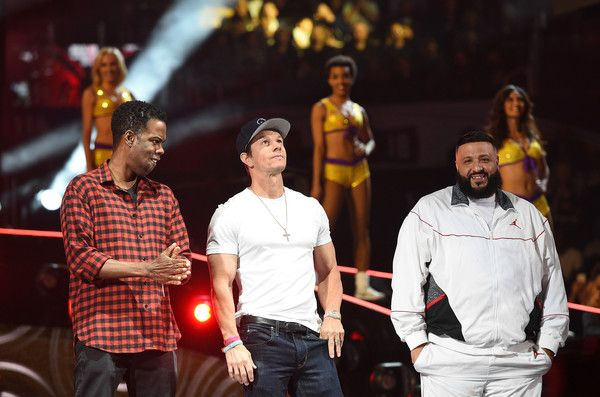 Mark Wahlberg Photos - (L-R) Chris Rock, Mark Wahlberg and DJ Khaled speak onstage during the 2018 JBL Three-Point Contest at Staples Center on February 17, 2018 in Los Angeles, California. - JBL Three-Point Contest 2018