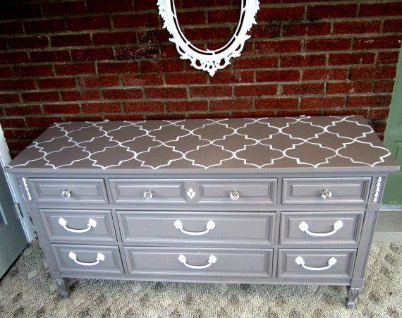 Vintage Dresser with Quatrefoil Print by ShabbyMaggie on Etsy