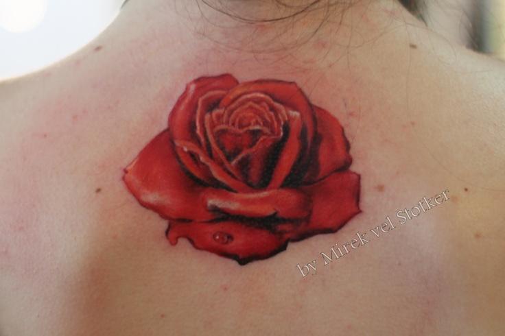 Salvadore Dali rose tattoo by Mirek vel Stotker, roja tatuaje