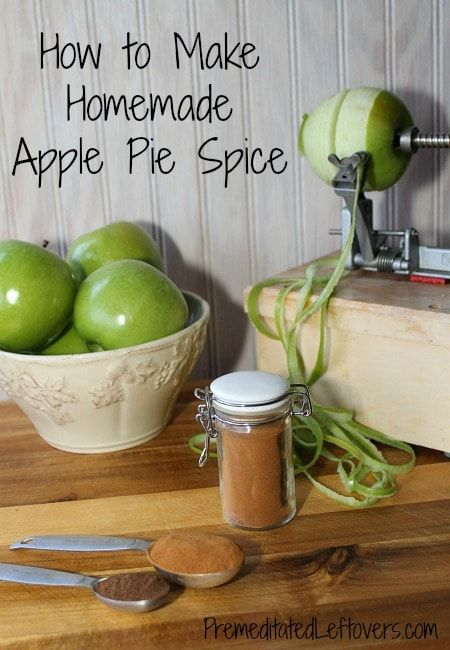 Use spices from your spice cupboard to create this homemade apple pie spice mix recipe. You just need cinnamon, nutmeg, and all spice. Print recipe here.