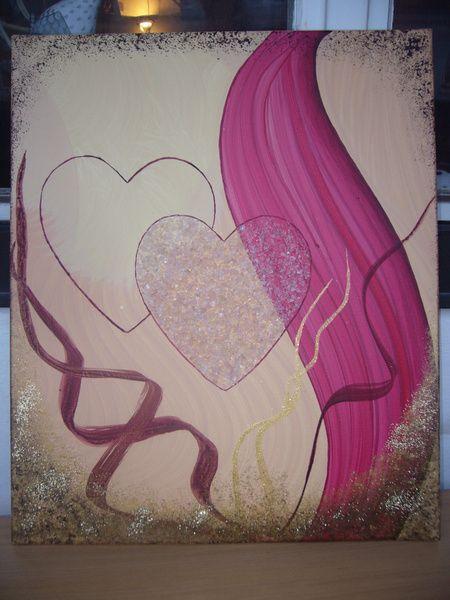 Ein Original Acrylbild- Collage  - Valentinstag, das Geschenk- Collage mit Rosenquarz von TRAUMnetz.com     ** DReamcatcher u.v.m.  ** auf DaWanda.com