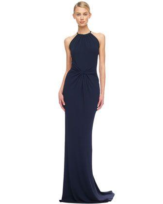Michael Kors Twist-Waist Jersey Gown.