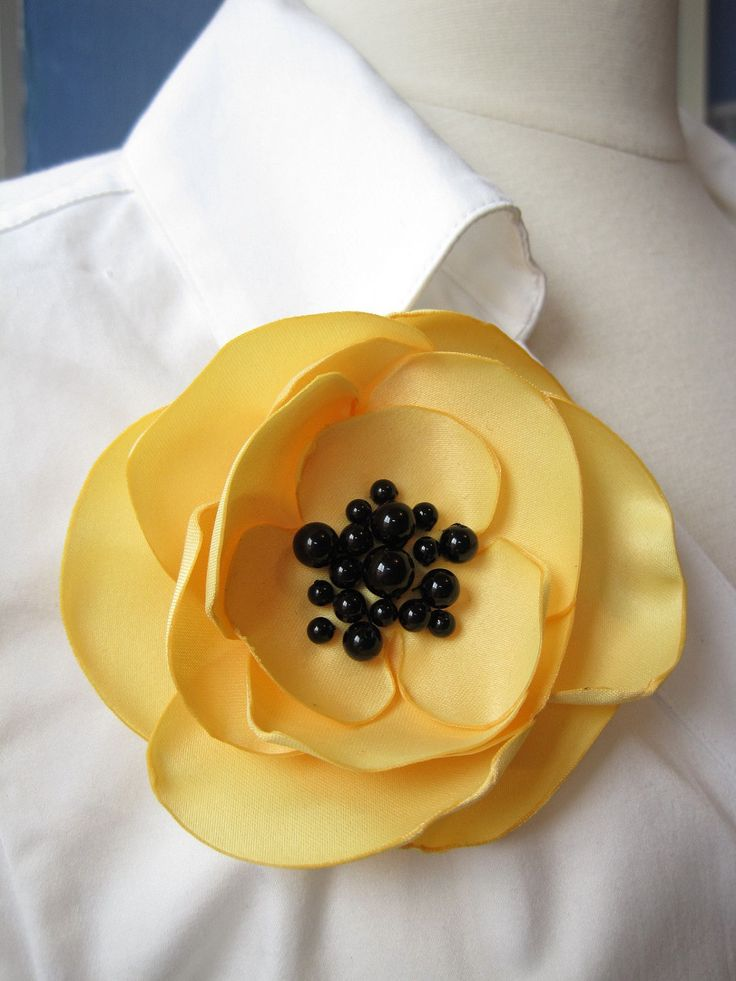 fabric flower brooch - buttercup yellow single bloom pin with black onyx beads -
