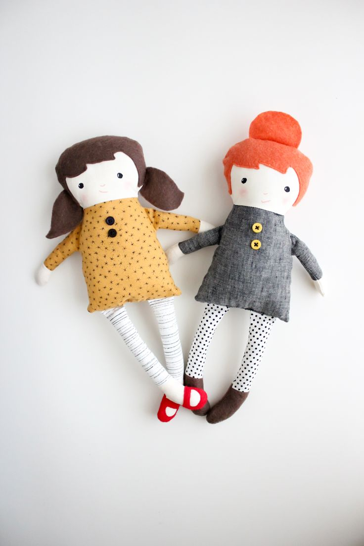 Black Apple Dolls (made by Delia Creates) from the free pattern on Martha Stewart by Emily Martin.