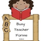 Eighteen forms to help any busy teacher.  Forms include:  Behavior charts, estimation jar note, snack reminder, student information form, and more.  $  pinned by http://teach123-school.blogspot.com/