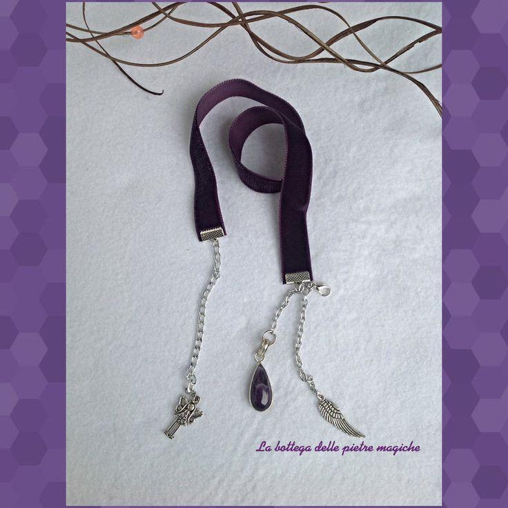 Segnalibro in velluto viola - Segnalibro in pietre dure - Segnalibro ametista - Segnalibro fata - Idea regalo di AnnieGioielli su Etsy