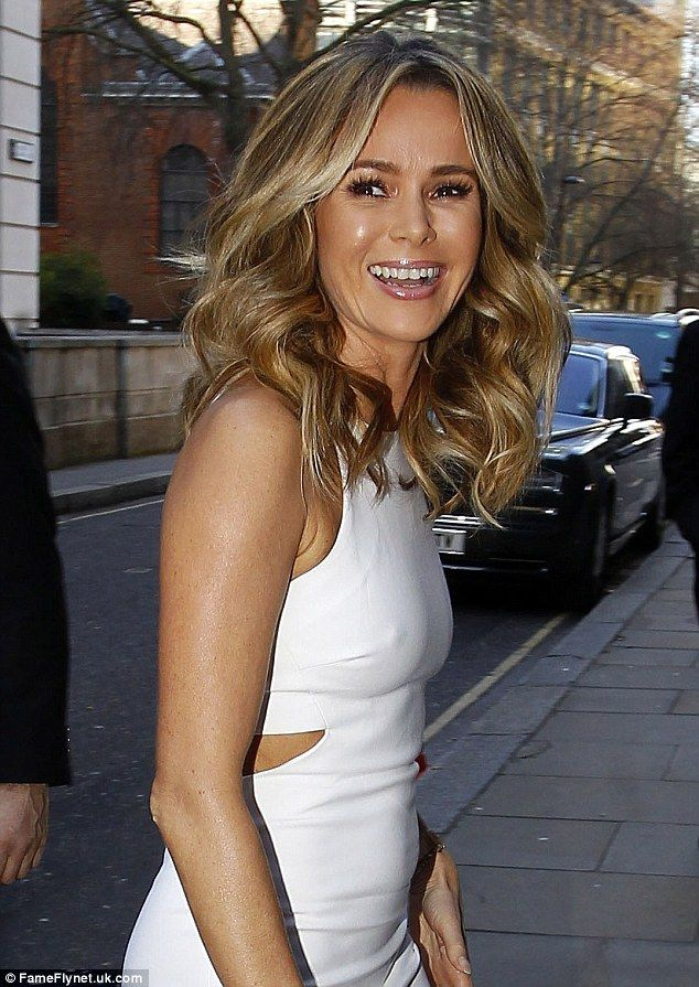 Happy times: The BGT judge looked in great spirits as she headed into the building