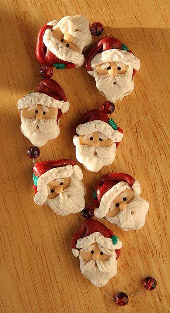 Santa Beads by Tina T.'s Polymer Clay, via Flickr