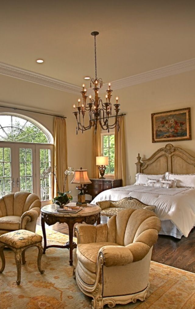 french country home bedroom sitting area idea
