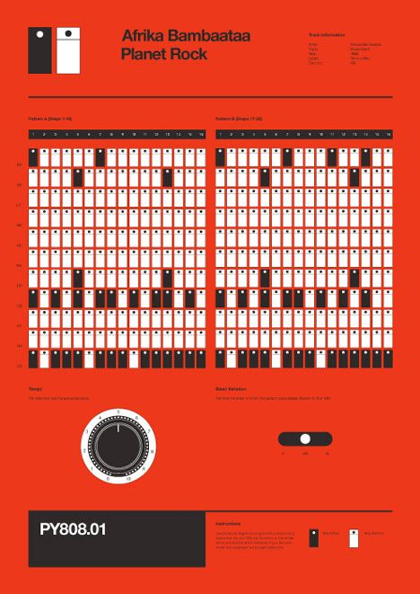 Program Your 808 by Rob Ricketts A series of informative posters detailing how some of the most notable drum sequences were programmed using the Roland TR-808 Drum Machine. Each sequence has been analyzed and represented as to allow users to re-programme each sequence, key for key.