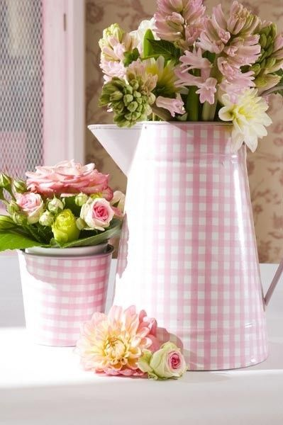 gingham pitcher of posies